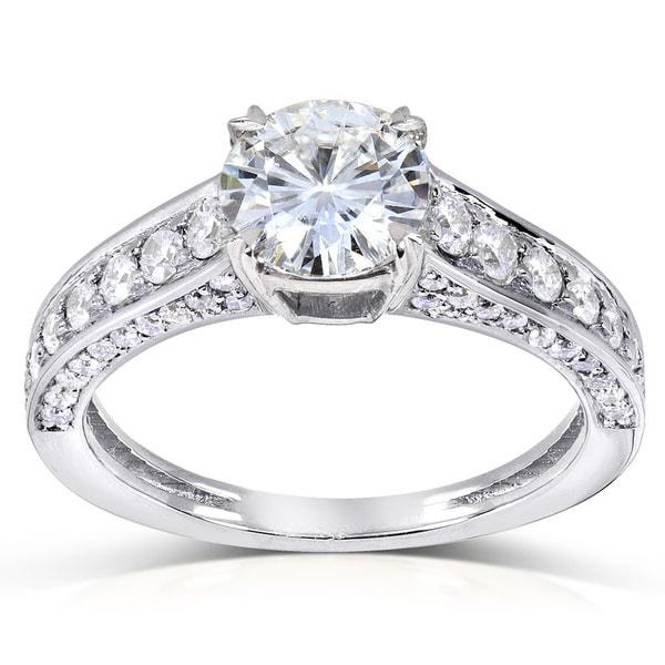 Annello 14k Gold Round-cut Moissanite and 1/2ct TDW Diamond Engagement Ring (G-H, I1-I2)