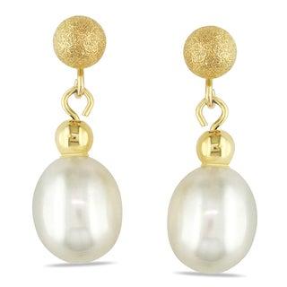 Miadora 14k Yellow Gold Freshwater Pearl Dangle Earrings (6-7 mm)