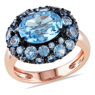 Miadora 14k Rose Gold 5ct TGW Swiss Blue Topaz Cocktail Ring