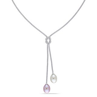 Miadora Sterling Silver White and Pink Pearl Lariat Necklace (8-9 mm)