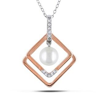 Miadora Two-tone Silver White Pearl and Diamond Necklace (8-9 mm) (H-I, I2-I3)