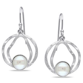 Miadora Sterling Silver Freshwater White Pearl Dangle Earrings (7-8 mm)