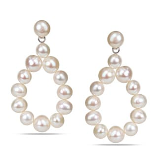 M by Miadora Sterling Silver Freshwater White Pearl Teardrop Earrings (7-8 mm)
