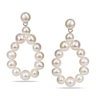 Miadora Sterling Silver Freshwater White Pearl Teardrop Earrings (7-8 mm)