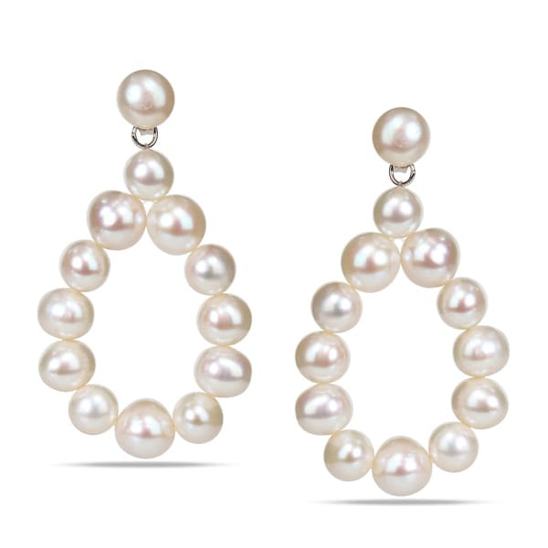 M by Miadora Sterling Silver Freshwater White Pearl Teardrop Earrings (7-8 mm)