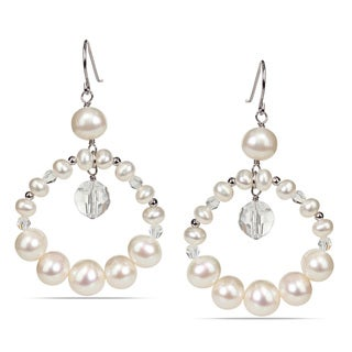 M by Miadora Sterling Silver Freshwater White Pearl Dangle Earrings (4-9 mm)