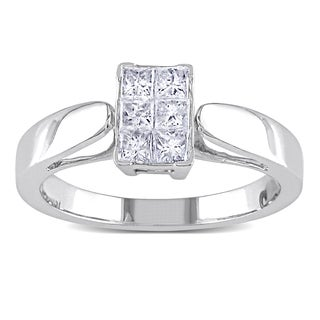 Miadora 14k White Gold 1/2ct TDW Princess-cut Diamond Ring (G-H, I1-I2)