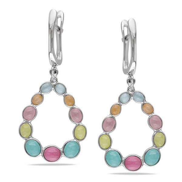 Miadora Sterling Silver Multi-color Created Cat Eye Teardrop Earrings