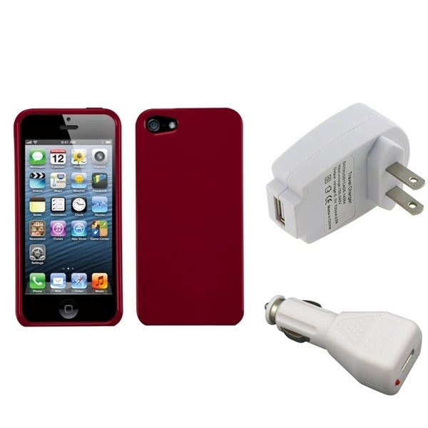INSTEN Phone Case Cover/ Travel Charger/ Car Charger for Apple iPhone 5