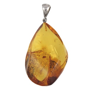 Handcrafted Yellow Flame Baltic Amber Freeform Pendant (Lithuania)