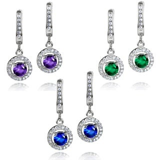 ELYA Sterling Silver Round-cut CZ Halo Dangle Earrings