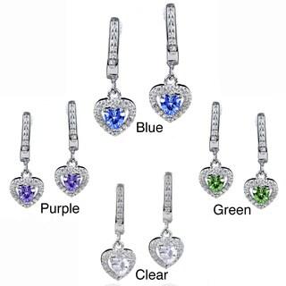 ELYA Sterling Silver Heart-cut CZ Halo Dangle Earrings