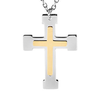 ELYA Goldplated Stainless Steel Layered Cross Necklace