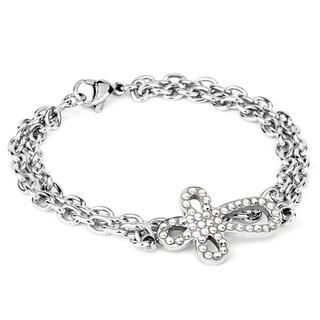 ELYA Stainless Steel Cubic Zirconia Looped Sideways Cross Bracelet