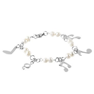 ELYA Designs Stainless Steel FW Pearl Music Note Bracelet (6-7 mm)