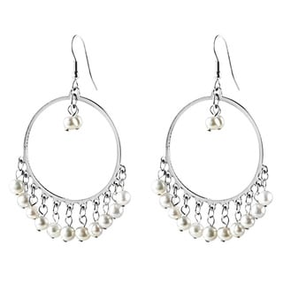 ELYA Stainless Steel Freshwater Pearl Hoop Earrings (4-5 mm)