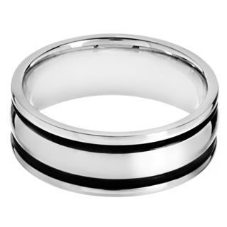 Stainless Steel Men's Black Rubber Inlay Band