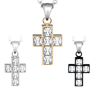 Plated Stainless Steel Square-cut Cubic Zirconia Cross Necklace
