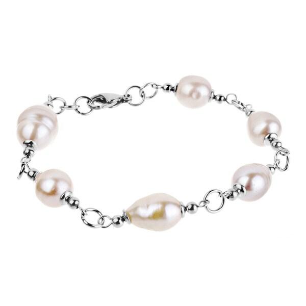 ELYA Stainless Steel White Freshwater Pearl Bracelet (10-11 mm)