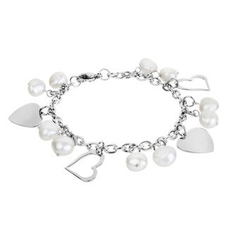 Stainless Steel Freshwater Pearl and Heart Charm Bracelet (9-10 mm)