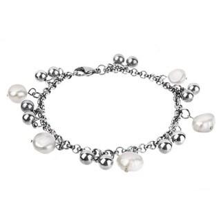 ELYA Stainless Steel Freshwater Pearl Charm Bracelet (8-9 mm)
