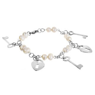 ELYA Designs Steel FW Pearl Heart Lock and Key Bracelet (7-8 mm)