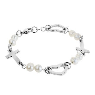 ELYA Designs Steel FW Pearl Side Cross and Heart Bracelet (5-6 mm)