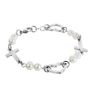 ELYA Steel FW Pearl Side Cross and Heart Bracelet (5-6 mm)