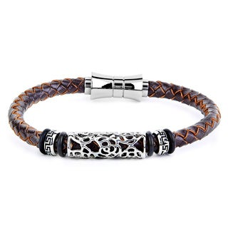 Crucible Men's Leather and Stainless Steel Braided Bracelet