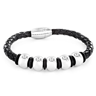 Black Leather and Stainless Steel Men's Beaded Bracelet