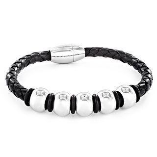 Crucible Black Leather and Stainless Steel Men's Beaded Bracelet