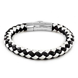 Black and White Leather and Stainless Steel Men's Beaded Bracelet