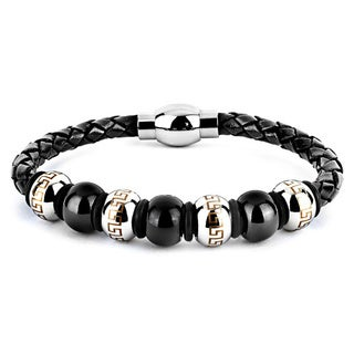 Black Leather and Stainless Steel Bead Men's Maze Print Bracelet