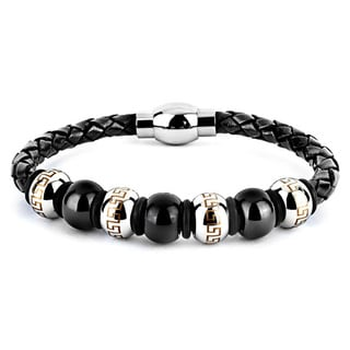 Black Leather and Stainless Steel Men's Bead Bracelet