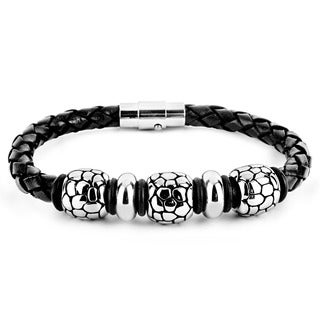 Crucible Men's Black Leather and Steel Reptilian Bead Braided Bracelet