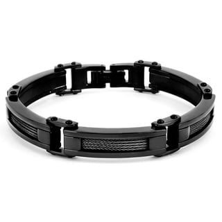 Crucible Men's Black-plated Stainless Steel Wire Link Bracelet