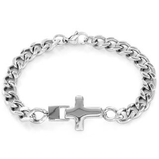 Stainless Steel Men's Sideways Cross Bracelet