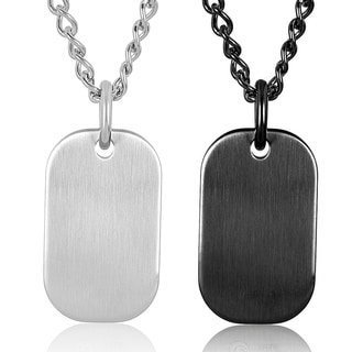 Stainless Steel Men's Thick Heavy Satin Finish Dog Tag Necklace