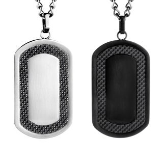 Crucible Stainless Steel Men's Carbon Fiber Frame Dog Tag Necklace