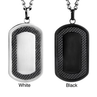 Stainless Steel Men's Carbon Fiber Frame Dog Tag Necklace