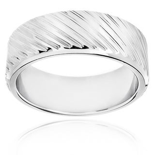 Stainless Steel Men's Diagonal Groove Band