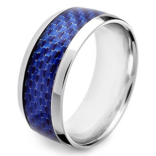 Crucible Stainless Steel Men's Blue or Black Carbon Fiber Inlay Band