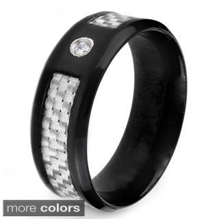 Stainless Steel Men's CZ and Black or White Carbon Fiber Inlay Band