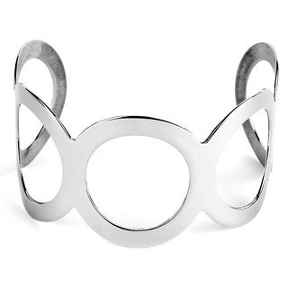 Stainless Steel Mod-inspired Open Circle Cuff Bracelet