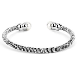 Stainless Steel Faux Pearl End Mesh-wrapped Bracelet