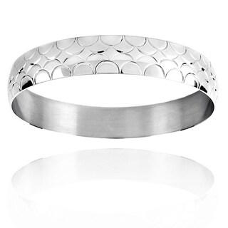 Stainless Steel Scalloped Design Bangle Bracelet