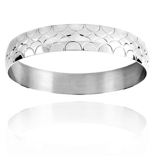 Stainless Steel Scalloped Design Bangle Bracelet 11666341