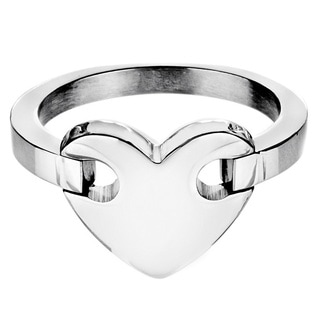 Stainless Steel Heart Center Ring