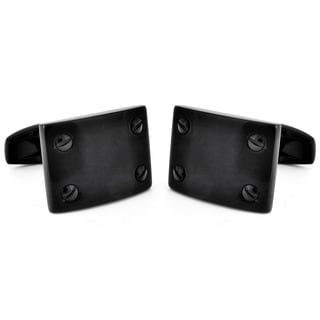 Black-plated Stainless Steel Screw Hardware Cuff Links