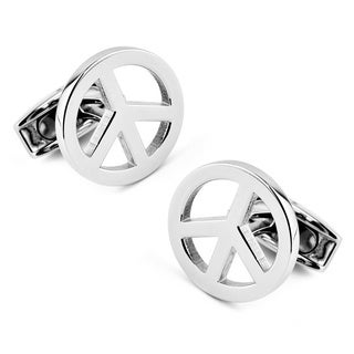 Stainless Steel Peace Sign Cuff Links